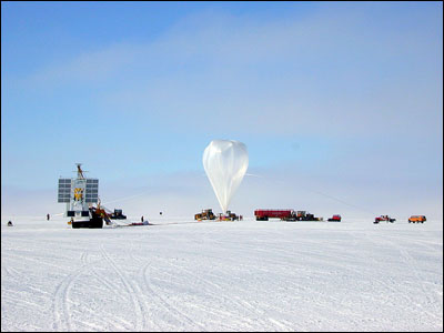 Flare Genesis telescope (L) and the inflating balloon