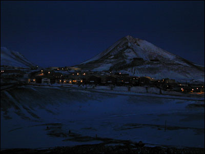 Observation Hill & McMurdo Station at night