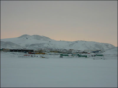McMurdo Station viewed from the sea ice