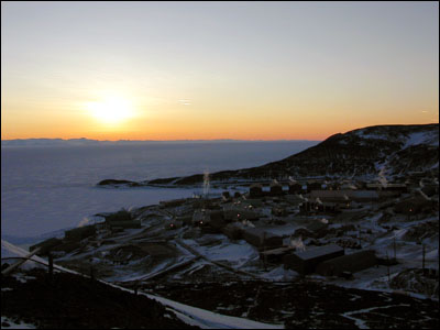 Sunset over McMurdo Station & McMurdo Sound
