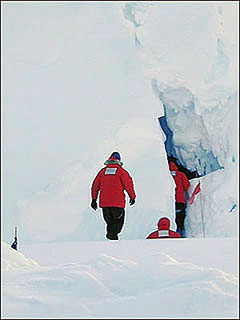 Entering the ice caves