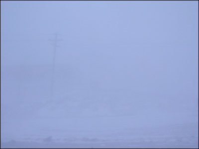 McMurdo in a condition one storm. This photo is the same           								      as the one before it, but with less visibility