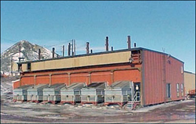 Power plant showing radiators