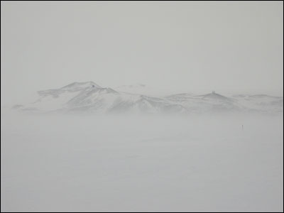 McMurdo Station from the Ice Runway through the fog