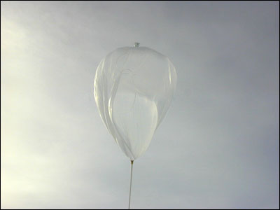 The balloon being released